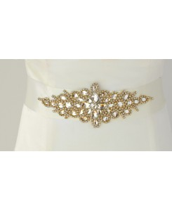 Opulent Ivory Satin Bridal Sash with Gold and Crystal Starburst