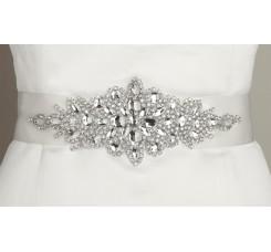 Opulent White Satin Bridal Sash with Crystal Starburst