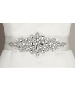Opulent White Satin Bridal Sash with Crystal Starburst