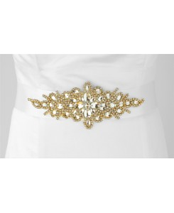 Opulent White Satin Bridal Sash with Gold and Crystal Starburst