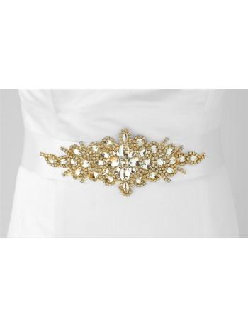 Opulent White Satin Bridal Sash with Gold and Crystal Starburst