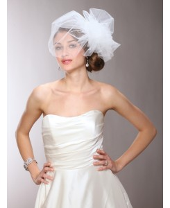 Chic Designer Bouffant-Style Side Veil in Four Colors