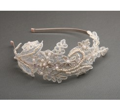 Vintage Champagne Lace Headband with Pearls & Sequins
