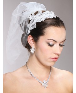 Vintage Ivory Lace Headband with Pearls & Sequins