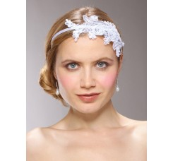 Vintage White Lace Headband with Pearls & Sequins
