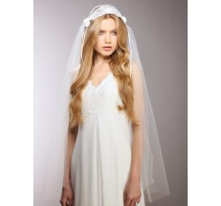 Ivory Vintage Lace Juliet Veil with Rosebuds