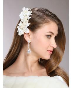 Silk Flower, Pearl & Crystal Vintage Bridal Hair Clip