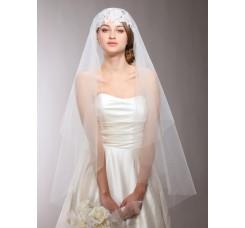 Renaissance Beaded Lace Applique Juliet Wedding Veil