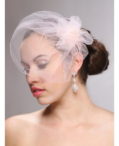 Tulle Birdcage Veil Bridal Cap with Side Pouf & Swarovski Crystals