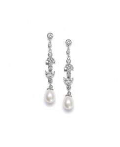 Linear Freshwater Pearl Vintage Bridal Earrings