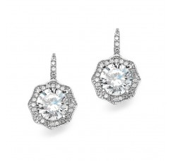 3 Ct Cubic Zirconia Vintage Hexagon Drop Earrings