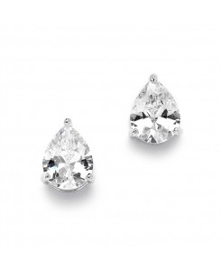 2.00 Ct. Cubic Zirconia Pear Shape Stud Earrings for Weddings or Bridesmaids