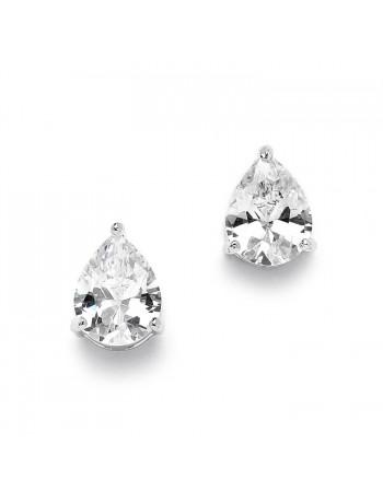 2.00 Ct. Cubic Zirconia Pear Shape Stud Earrings for Weddings or Bridesmaids