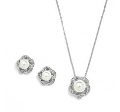 Ivory Pearl & Cubic Zirconia Bridal or Bridesmaid Necklace & Earrings Set
