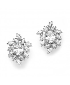 Brilliant Oval & Marquise Cluster Wedding or Bridal Cubic Zirconia Earrings
