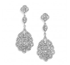 Antique Silver Vintage Bridal Chandelier Earrings with Crystal
