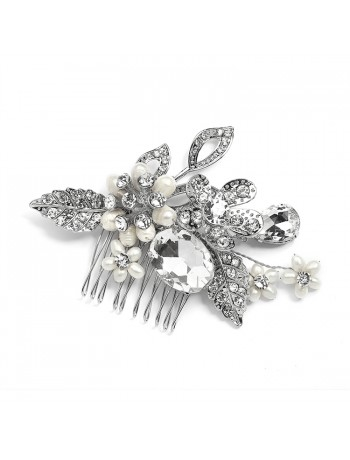 Vintage Statement Bridal Comb in Antique Rhodium with Bold Oval Crystal and Freshwater Pearls