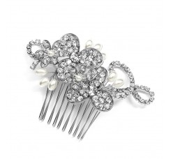 Antique Floral Bridal Comb with Freshwater Pearl Sprays & Graceful Rhinestone Vines