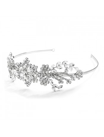 Popular Crystal Wedding Headband or Tiara with Vintage Art Deco Floral Design