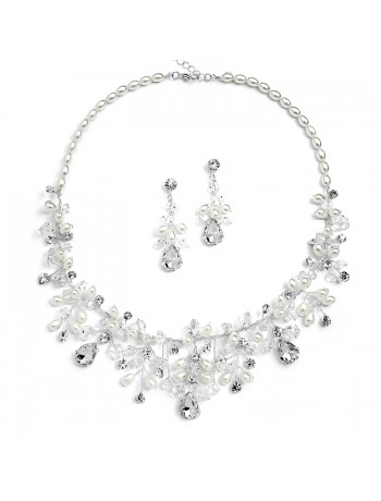 Top-Selling Handmade Bridal Necklace Set with Assorted Crystals and Rice Pearls