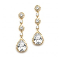 Best-Selling Gold Pear-Shaped Drop Bridal Earrings with Pave CZ