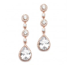 Best-Selling Rose Gold Pear-Shaped Drop Bridal Earrings with Pave CZ