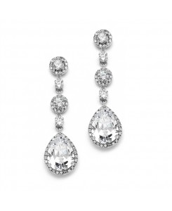 Best-Selling Pear-shaped Drop Bridal Earrings with Pave CZ - Clip On