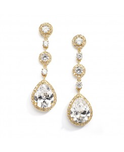 Best-Selling Pear-Shaped Drop Bridal Earrings with Gold Pave CZ - Clip On