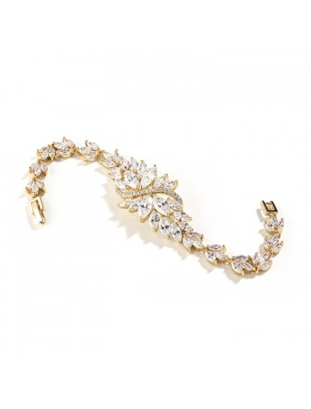 Cubic Zirconia Cluster Gold Bridal Bracelet with Dainty Marquis Stones