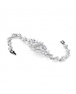Cubic Zirconia Cluster Petite Size Bridal Bracelet with Marquis Stones