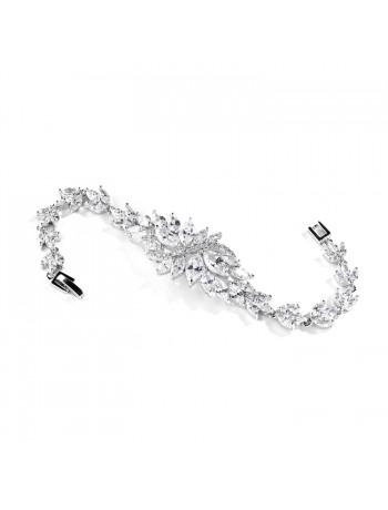 Cubic Zirconia Cluster Petite Size Bridal Bracelet with Marquis Stones