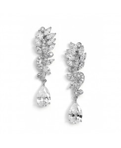 Pave CZ Bridal Earrings with Marquis Leaves & Pear Drop