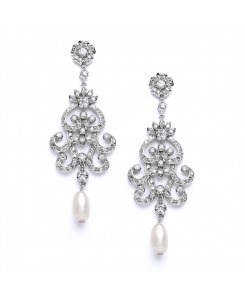 Vintage Chandelier Wedding or Bridal Earrings with Cubic Zirconia & Freshwater Pearls