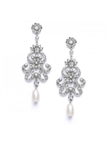 Vintage Chandelier Wedding or Bridal Earrings with Cubic Zirconia & Freshwater Pearls
