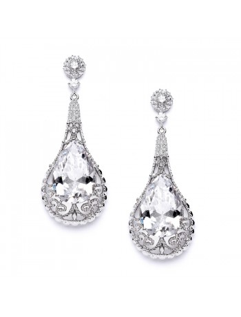 Top-Selling Bold Cubic Zirconia Pear shape Wedding Earrings