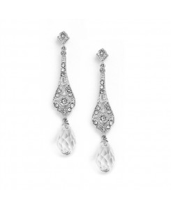 Dainty Art Deco Cubic Zirconia Bridal or Prom Earrings with Crystal Dangles