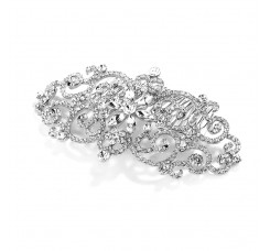 Glamorous Bold Scrolls Wedding or Prom Hair Comb with Crystals