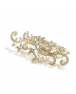 Popular Gold Wedding or Prom Hair Comb with Pave Crystal Vines