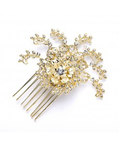 Top Selling Prom or Wedding Crystal Spray Hair Comb in Gold
