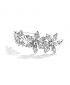 Spectacular Bridal Headband with Crystal Flowers and Split Band