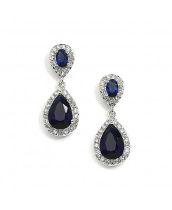 Top-Selling Sapphire Cubic Zirconia Teardrop Wedding or Bridesmaids Earrings