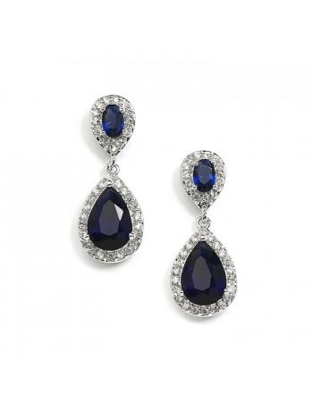 Top-Selling Sapphire Cubic Zirconia Teardrop Wedding or Bridesmaids Earrings