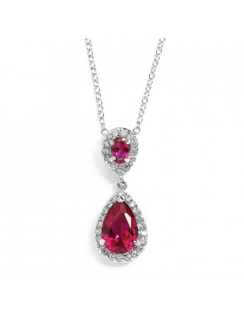 Top-Selling Fuschia Cubic Ziconia Teardrop Wedding Pendant