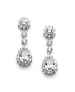 Cubic Zirconia Bridal or Bridesmaids Dangle Earrings with CZ Jeweled Frame