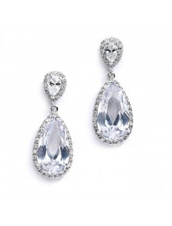 Cubic Zirconia Wedding or Bridal Earrings with Elongated Pear Drop