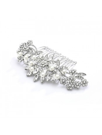 Pearl, Crystal & Lucite Sunburst Wedding or Prom Comb