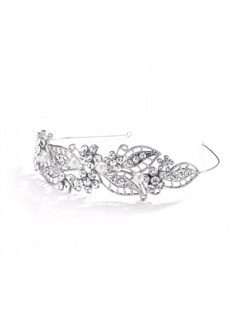 Antique Filigree Wedding Headband or Bridal Tiara With Leaves and Pearls