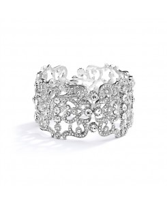 Grecian Style Couture Wedding or Prom Crystal Cuff Bracelet