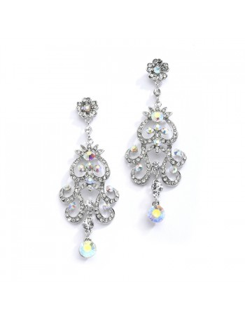 Iridescent AB Vintage Chandelier Earrings for Prom, Homecoming or Weddings