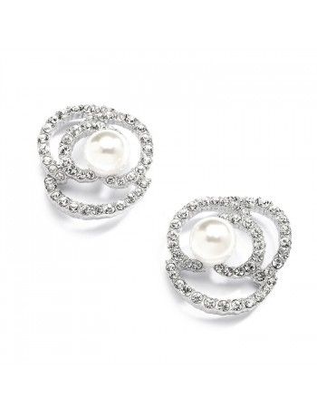 Designer Wedding Earrings with Cubic Zirconia and Pearl Flowers